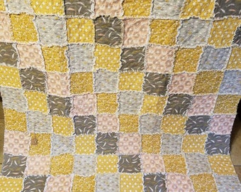 Patchwork Rag Quilt Throw. Mustard, grays, peach and white