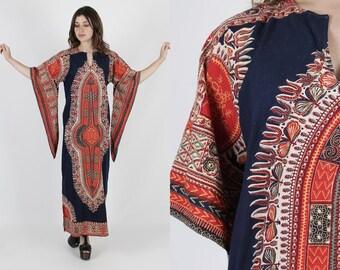 Dashiki Dress Ethnic Dress India Dress 70s Dress Boho Dress Vintage Dress Bohemian Navy Blue Angel Sleeve Festival Caftan Maxi Dress M