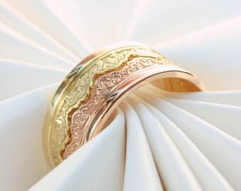Four Stacking Rings, Gold Stacking Rings, Stacking Ring Set, Personalized Stacking Rings, Gold Stackable Rings, Rose Gold Rings, Lace Rings