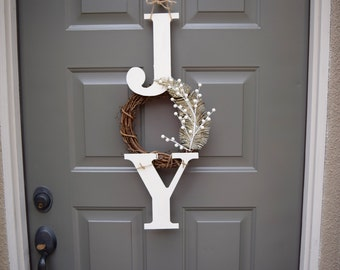 Joy sign, joy wreath, christmas sign, christmas door hanger, farmhouse christmas decor, rustic christmas sign, Joy, christmas decorations