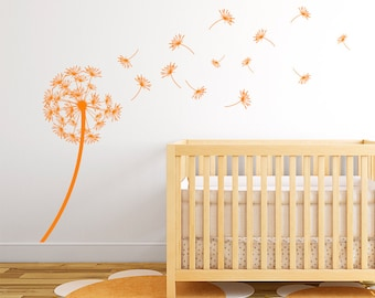 "Dandelion ""The Arianna"" Vinyl Wall Decal with seeds blowing in the wind K434"