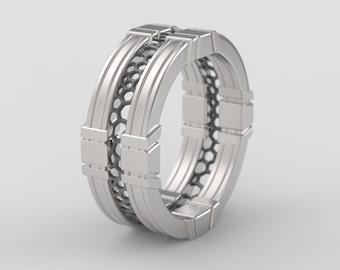 Geek wedding ring, geek engagement ring, star wars ring, Sci fi ring, nerd ring, star wars jewelry, alien ring, star trek ring, voronoi ring
