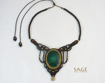 Malachite macrame necklace with Carnelian and brass beads