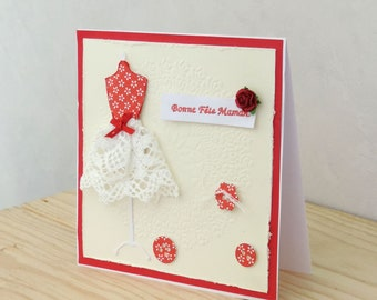 mother's Day card, made, scrapbooking, lace and red rose.