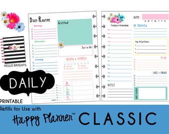 "HAPPY PLANNER Daily Planner Inserts / Refills Printable - PDF - Classic  7 x 9.25  mambi | Create365 | me & my Big Ideas ""Hello Brights"""