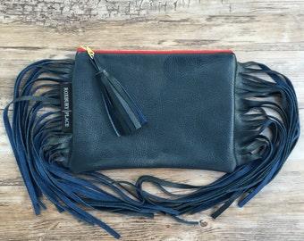 Navy Leather Fringe Clutch, Leather Clutch, Fringe Leather Bag, Navy Fringe Purse, Zipper Pouch, Fringe Tassel Bag, Handmade Fringe Bag