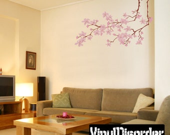Floral Tree Branch Wall Decal - Wall Fabric - Vinyl Decal - Removable and Reusable - FloralBranchUScolor006ET