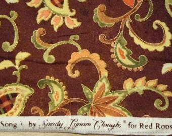 Brown quilting fabric with paisley