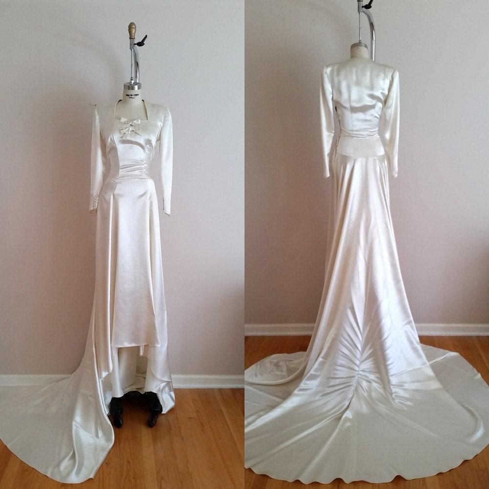 1930s Wedding Dresses: Vintage 1930s Silk Satin Wedding Dress / 30s Wedding Dress