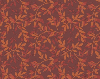 Ginger Rose Fabric - Orange Branches Fabric