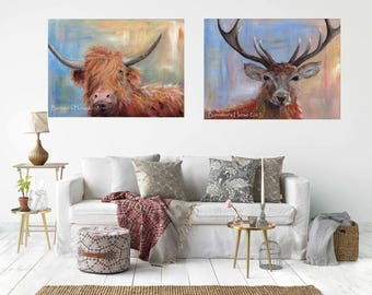 Hamish the  HIGHLAND COW & STAG,  Pair of Canvas Wrap Prints From My Acrylic Art - Ready to hang