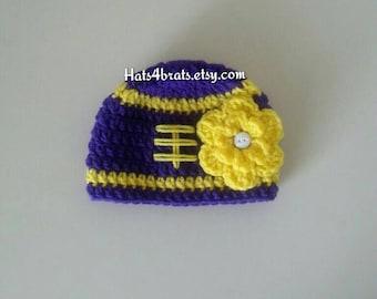 Baby Girl Minnesota Vikings Hat, Newborn Vikings Hat, Vikings Photo Prop, Baby Vikings Hat, Infant Vikings Hat, Crochet Football Hat, Kids