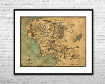 lord of the rings map archival paper canvas print lord of the rings wall art