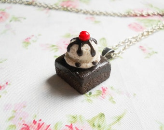 Brownie Necklace, Brownie Sundae, Ice Cream, Necklace, Pendant, Polymer Clay, Brownie, Miniature Food, Food Necklace, Chocolate
