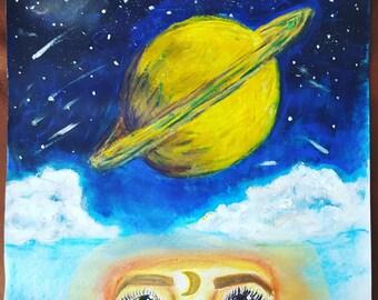 "Ground Control: David Bowie tribute piece - 11""×12"""