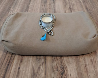 Yoga Bolster Meditation Gift Set Includes Bolster, Candle, Mala