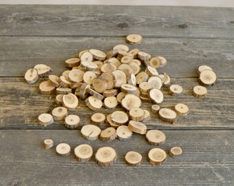 100 Small Wood Slices~ .5 to 1.25 inch~ Tree Slice Assortment ~ Summer Wedding ~ Spring Wedding ~ Wood Chips ~ Tree Cookies ~ Wood Rounds