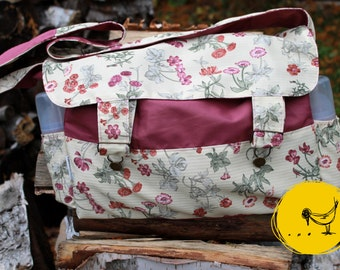 Large bag with layer flowers of the fields, large diaper bag, large tote bag, shoulder bag, messenger bag, eco-friendly, recovered material