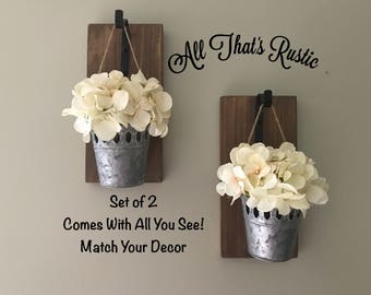Galvanized Metal Decor, Hanging Planter, Farmhouse, Rustic Wall Decor, Sconce with Flowers, Farmhouse Wall Decor, Country Decor, Sconces