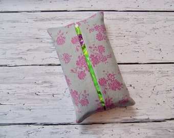 Kleenex travel tissue case in purple and gray fabric  , pocket tissue , travel tissue, kleenex case