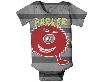 Baby Boy Bodysuit, Personalized Little Monster Infant One Piece Shirt, Onepiece Baby Clothing