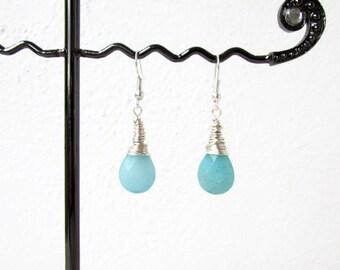 Aqua quarzite earrings, wire wrapped, blue dangle earrings, aqua semi precious gemstone earrings, Gift for her, handmade in the UK