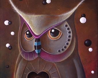 "Original pop surrealism acrylic painting on canvas by Olivier Castillon ""La Bienveillance"""