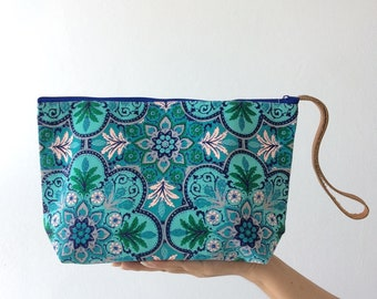 Teal Flora Bridesmaid Bag Handbags Clutch Bag Wrist let Toiletry Bag Cosmetic Bag Clutch Purse Hippie Bag Summer Makeup organizer