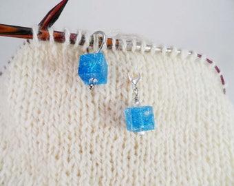 Sky Blue Captured Fiber and Resin Stitch Marker and Progress Keeper Set