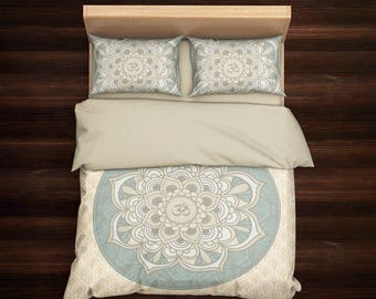 Mandala Bedding, Om Bedding, Mandala Duvet Cover Set, Boho Bedding, Hippie Bedding, Bohemian Bedding, Boho Duvet Cover,Mandala Bedding Beige