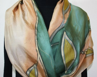 Silk Scarf Hand Painted. Tan, Green Handmade Scarf. Hand Dyed Scarf PEACEFUL GARDEN. Size Large 14x70. Anniversary Mother Gift. Gift-Wrapped