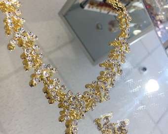 Silver and gold Bollywood Indian necklace and earrings