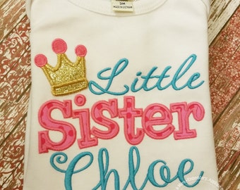 Lil Sister - Little Sister - Embroidery gift - Baby gift - Customizable -  Sibling 81