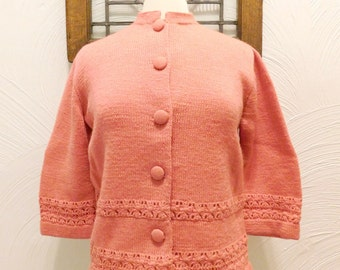 Pink Cardigan Sweater Vintage Pointelle - M