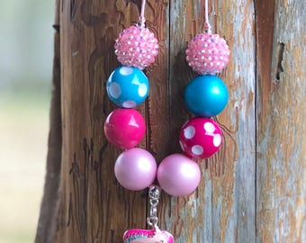 Cotton Candy Chunky Bubblegum Necklace - Adjustable - Summer - Spring - Easter - Holidays - Princess -Birthday - baby necklace