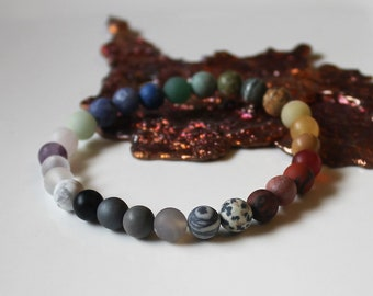 Seven Chakra Bracelet, Matte gemstone bracelet,  energy balancing bracelet, Healing Bracelet, 7 chakra