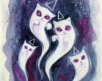 The Cats Came Back - original watercolor, small illustration, cat art, spooky cute, cat ghost, halloween art, cute halloween art