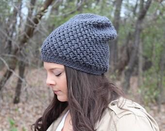 Grey Beanie, Grey Slouchy Hat, Grey Hat, Grey Winter Hat, Grey Crochet Hat, Grey Knit Hat, Gray Hat, Charcoal Hat, THE EMORY
