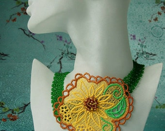 Beadwork  Sunflower necklace.