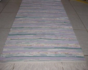 Handwoven Lavendar, Pink, Teal Rag Rug 25 x 90