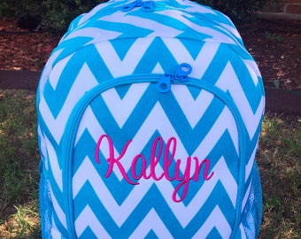 Turquoise Chevron Backpack - Personalized Backpack - Large Backpack -Monogram Backpack - Girl Backpack - School Backpack - Embroidery