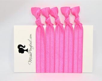 Pink Hair Ties, Bubblegum Pink, Bulk Hair Ties, Knotted Hair Ties, Yoga Hair Ties, Handmade Hair Ties, Ponytail Holders, Elastic Hair Ties