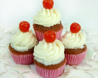 Mini Cherry Top Cupcakes - 4 Pack Soaps