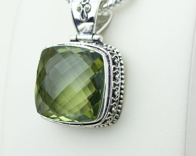 Unique Vintage Setting Green Amethyst 925 S0LID Sterling Silver Pendant + 4MM Snake Chain & Worldwide Shipping p4232