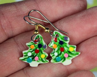 Christmas Tree DangleEarrings Handmade Porcelain Ceramic Jewelry