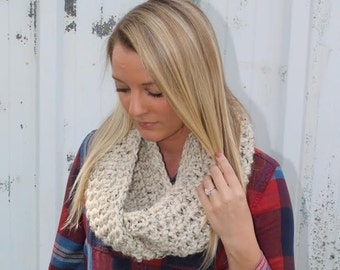 The Cassie Scarf / Extra Chunky Crochet Cowl Scarf / Thick Textured Infinity Scarf / Bulky Loop Scarf