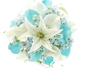 Stemple's Gatherings-Real Touch White and Light Blue Callas,White Tiger Lilies & Light Blue Wax Flower-In a vase or as a wedding bouquet