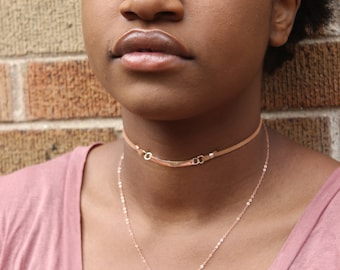 Delicate Rose Gold and Faux Suede Y Choker Necklace