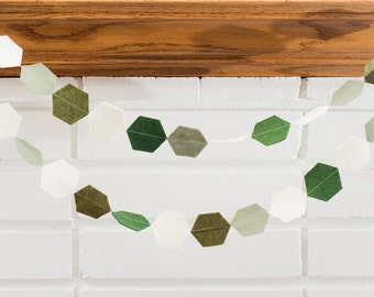 go green (hexagon) -- felt garland //  green forest moss hexagon garland, boy nursery, birthday party, baby shower, nature outdoors dinosaur