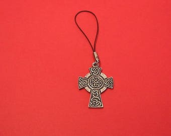 Celtic Cross Pewter Mobile Phone Charm Celtic Themed Gift Celtic Gift Christmas Mother's Day Father's Day